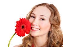 Happy young woman holding flower. Stock Photos
