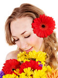 Happy young woman holding flowers. Stock Photos