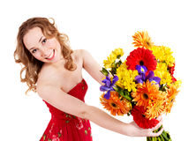 Happy young woman holding flowers. stock images