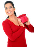Happy Young Woman Holding Gift. Happy young woman holding red box gift. isolated on white stock photo