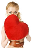 Happy young woman holding heart. Valentines day Royalty Free Stock Photo