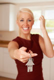 Happy Young Woman Holding Keys To New Home Royalty Free Stock Photos