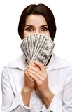 Happy young woman holding money royalty free stock photo