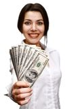 Happy young woman holding money stock photos