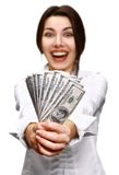 Happy young woman holding money Royalty Free Stock Photos