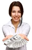 Happy young woman holding money