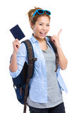 Happy young woman holding passport Stock Images