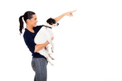 Woman pet pointing Stock Images