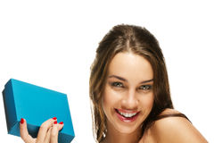 Happy young woman holding present box Stock Photos