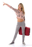 Happy Young Woman Holding a Red Suitcase Stock Photography