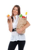 Happy young woman holding a shopping bag Royalty Free Stock Photo