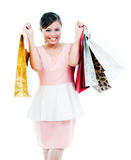 Happy Young Woman Holding Shopping Bags. Portrait of an attractive young Asian woman holding shopping bags over white background Royalty Free Stock Photography