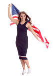 Happy young woman holding USA flag. Image isolated Royalty Free Stock Images