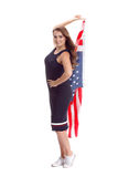 Happy young woman holding USA flag. Image isolated Royalty Free Stock Photo