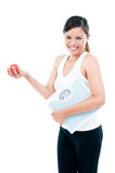 Happy Young Woman Holding Weighing Scale And Apple Stock Images