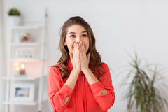 Happy young woman at home Royalty Free Stock Images