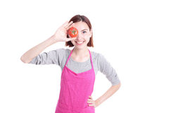 Happy young woman housewife Royalty Free Stock Image