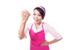 Happy young woman housewife mother Stock Photos