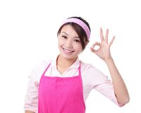 Happy young woman housewife mother Stock Photography