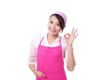 Happy young woman housewife mother Stock Photo