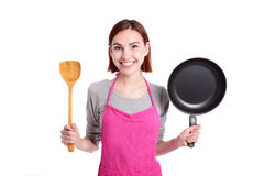 Happy young woman housewife Stock Image