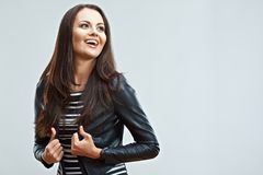 Happy young woman isolated portrait. Smiling emotional girl pos Stock Photos