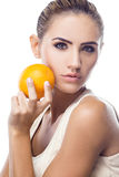 Happy Young Woman with  juice Royalty Free Stock Photography