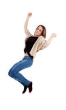 Happy young woman jumping Stock Photos