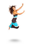 Happy Young Woman Jumping and Smiling Royalty Free Stock Photos