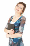 Happy young woman keeping laptop Royalty Free Stock Photos