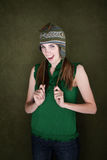 Happy Young Woman with Knit Cap Royalty Free Stock Photo