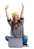 Happy young woman with a laptop. On a white background Royalty Free Stock Images