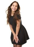 Happy young woman laughing in black dress Stock Image