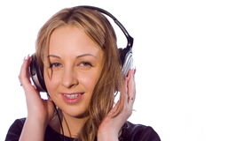 Happy young woman listening to music, white background stock video footage