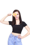 Happy Young Woman with lolipop. Isolated On White Background Stock Photo