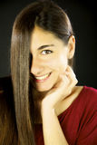 Happy young woman with long straight beautiful hair Stock Photos