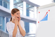 Happy businesswoman in front of office building Stock Photography