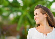 Happy young woman looking on copy space Royalty Free Stock Photo