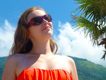 Happy young woman looking up Royalty Free Stock Photo
