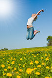 Happy young woman on meadow Stock Photography