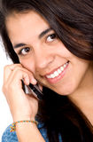 Happy young woman with mobile Royalty Free Stock Images