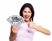 Happy young woman with money. Royalty Free Stock Photography