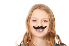 Happy young woman with a moustache Stock Photos