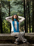 Happy young woman in nature Stock Images