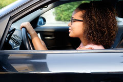 Happy young woman new car Stock Image