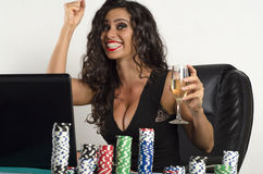 Happy young woman online poker success, win Stock Image