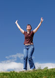 Happy young woman outdoor Stock Photography