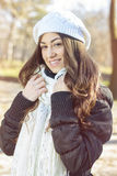 Happy Young Woman Outdoor Winter Fall Royalty Free Stock Photo