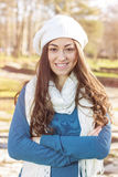 Happy Young Woman Outdoor Winter Fall Royalty Free Stock Photography