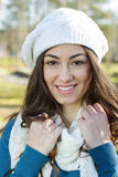 Happy Young Woman Outdoor Winter Fall Royalty Free Stock Image